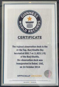 148e etage du Burj Khalifa - Record du monde