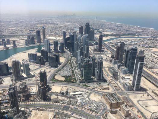 Vue depuis le 124e étage du Burj Khalifa à Dubai